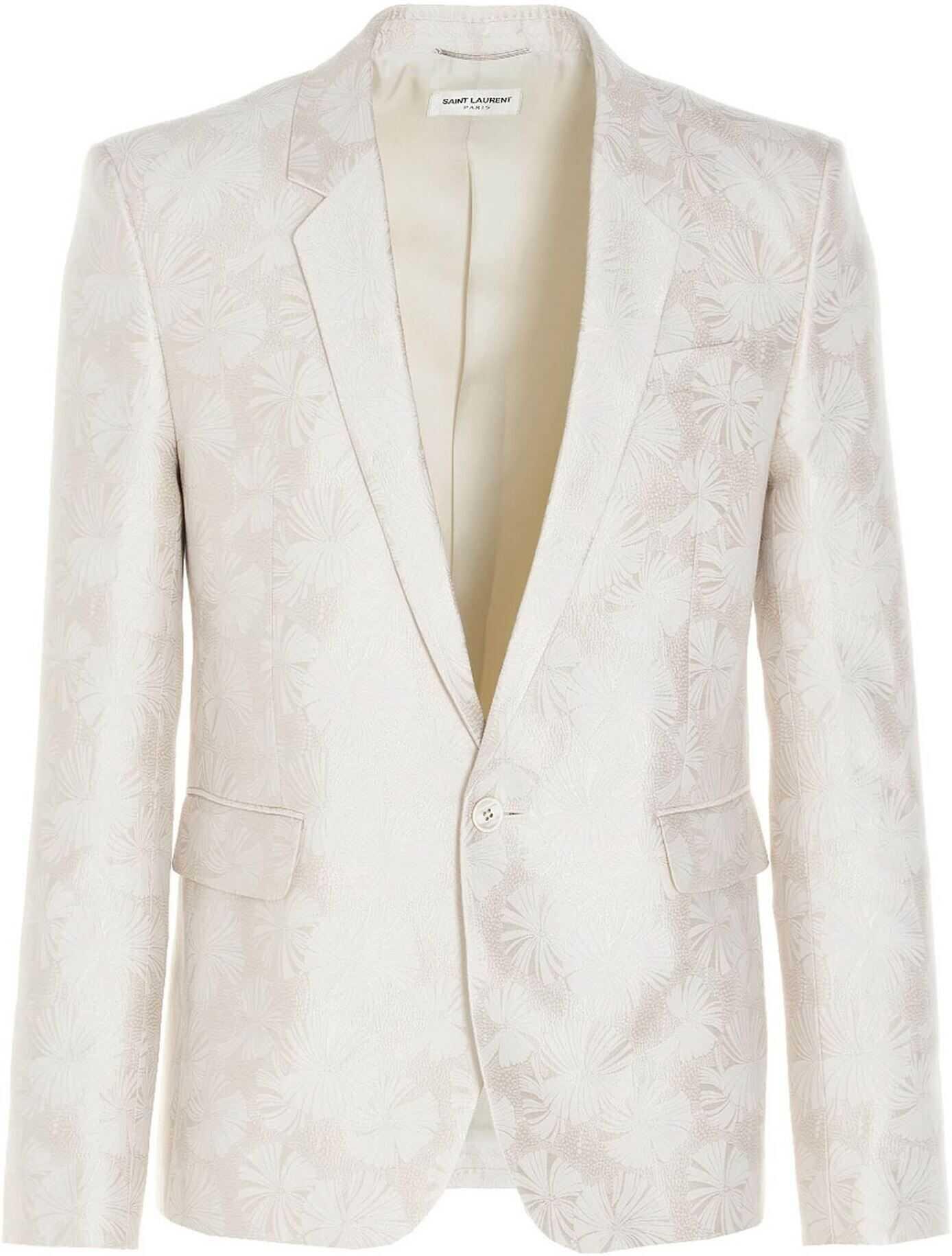 Saint Laurent Jacquard Jacket In White White imagine