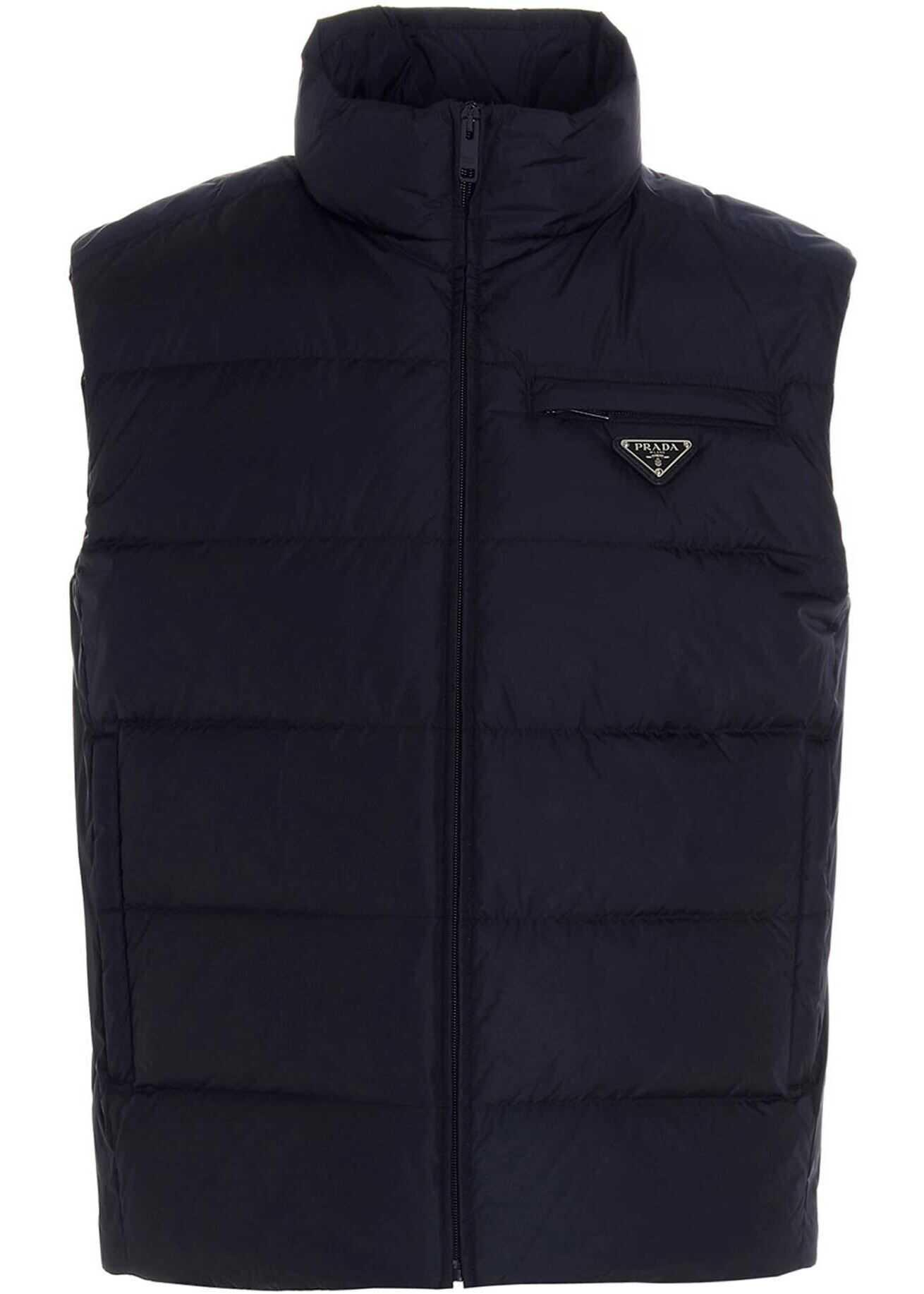 Prada Padded Re-Nylon Vest In Blue Blue imagine