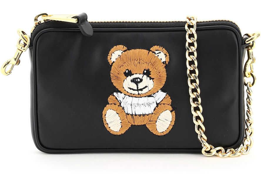 Moschino Mini Bag Chain Teddy Bear Embroidery 7525 8001 NERO imagine b-mall.ro