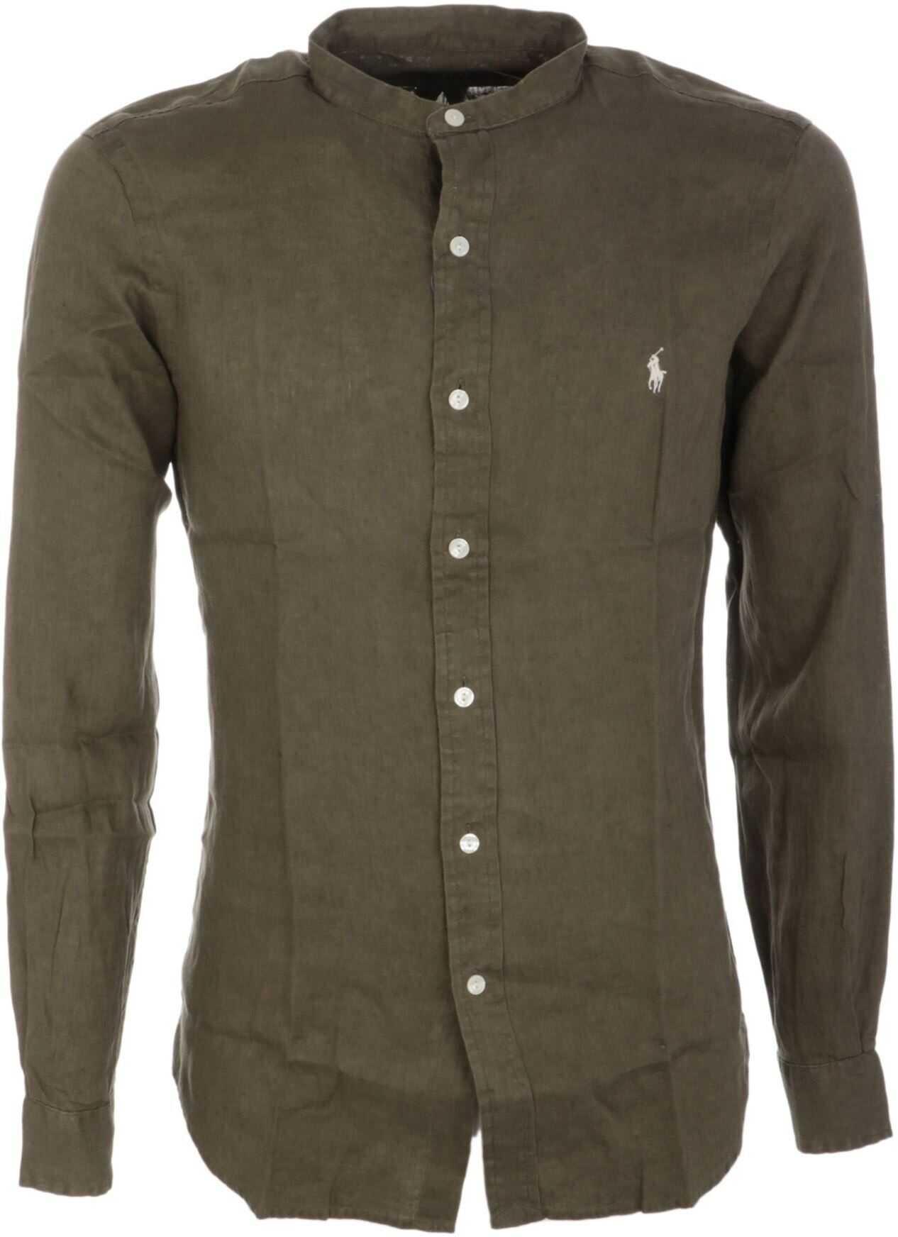 Ralph Lauren Linen Shirt In Army Green Green imagine