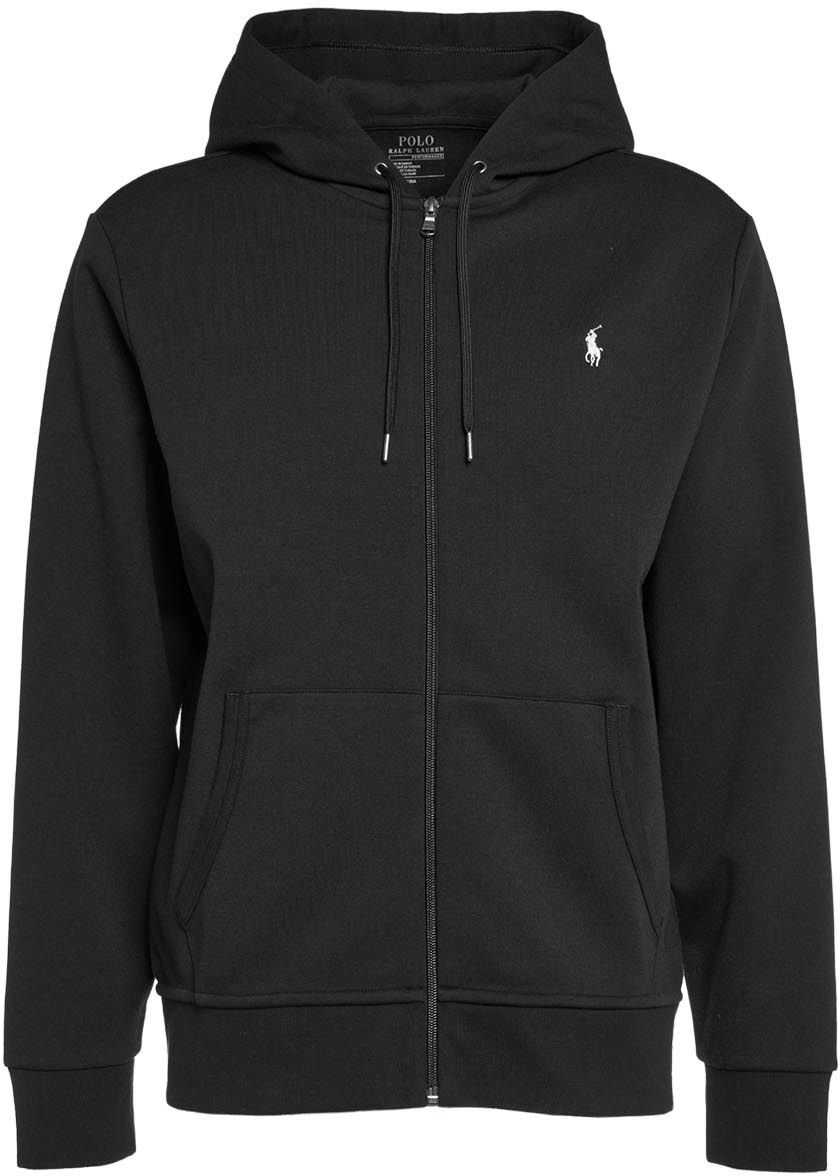 Ralph Lauren Sweater with zip and logo embroidery Black imagine