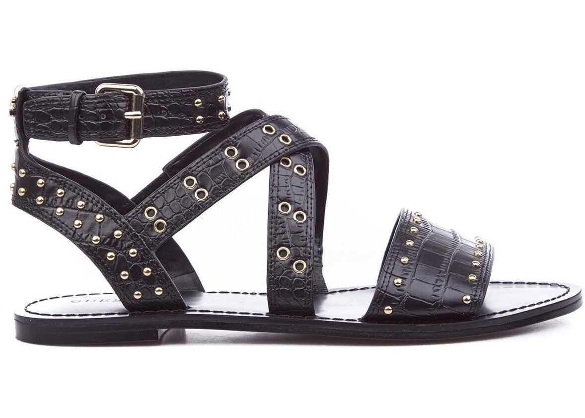 GUESS Strap sandals with studs Black imagine b-mall.ro