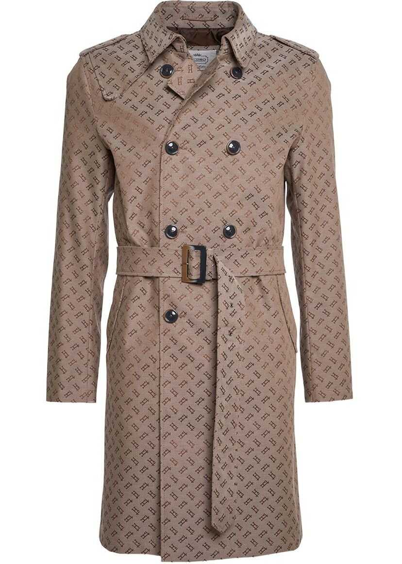 Herno Double breasted trench coat with logo Beige imagine
