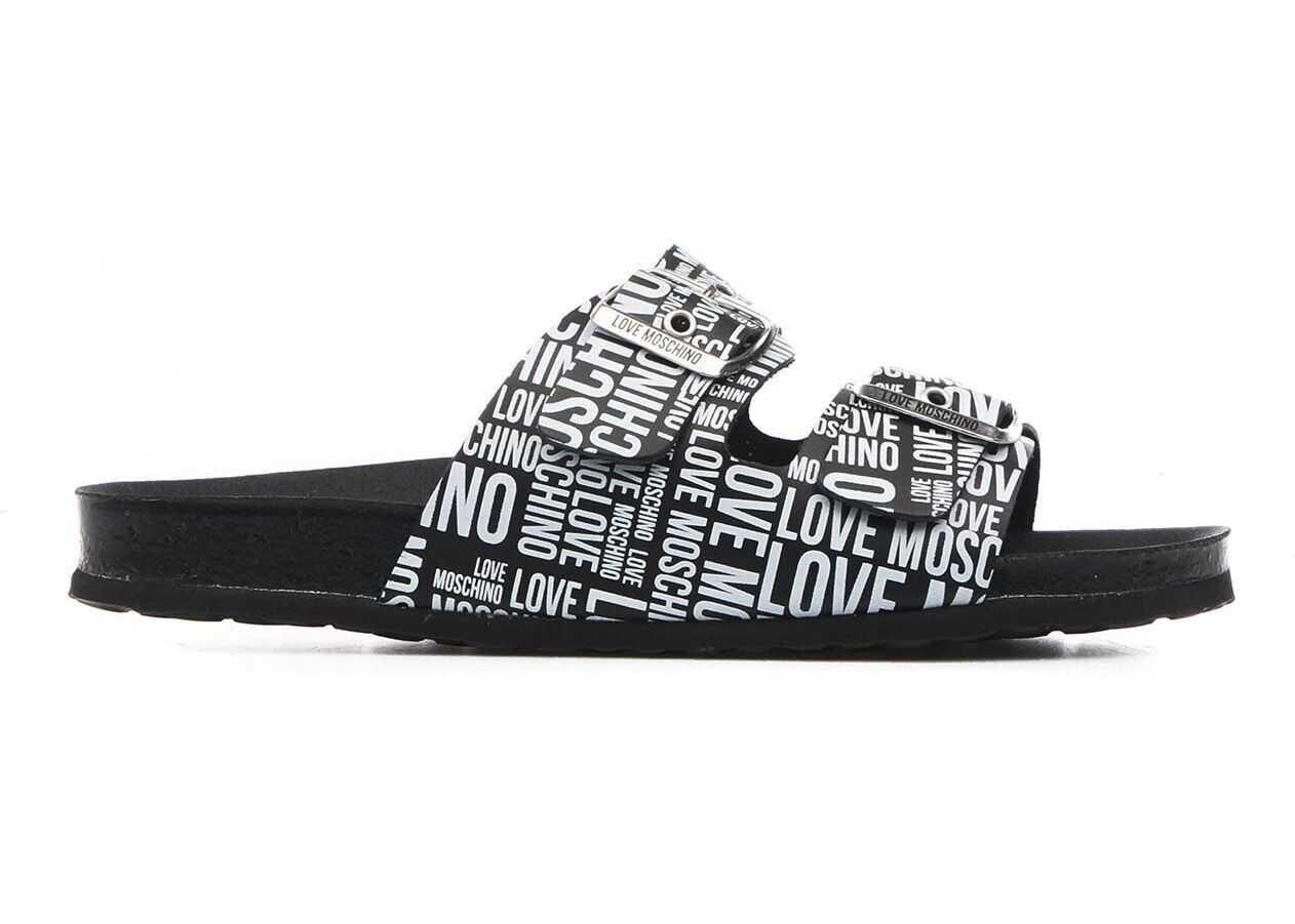 LOVE Moschino Sabot with logo writing Black imagine b-mall.ro