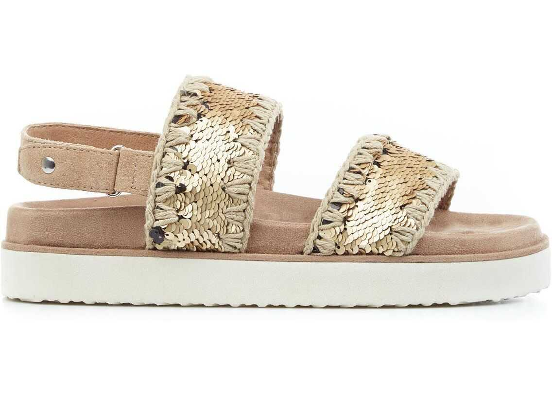 Mou Bio sandals with sequins Gold imagine b-mall.ro