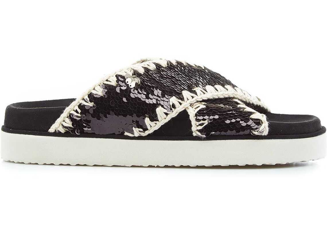 Mou Bio sandals with sequins Black imagine b-mall.ro