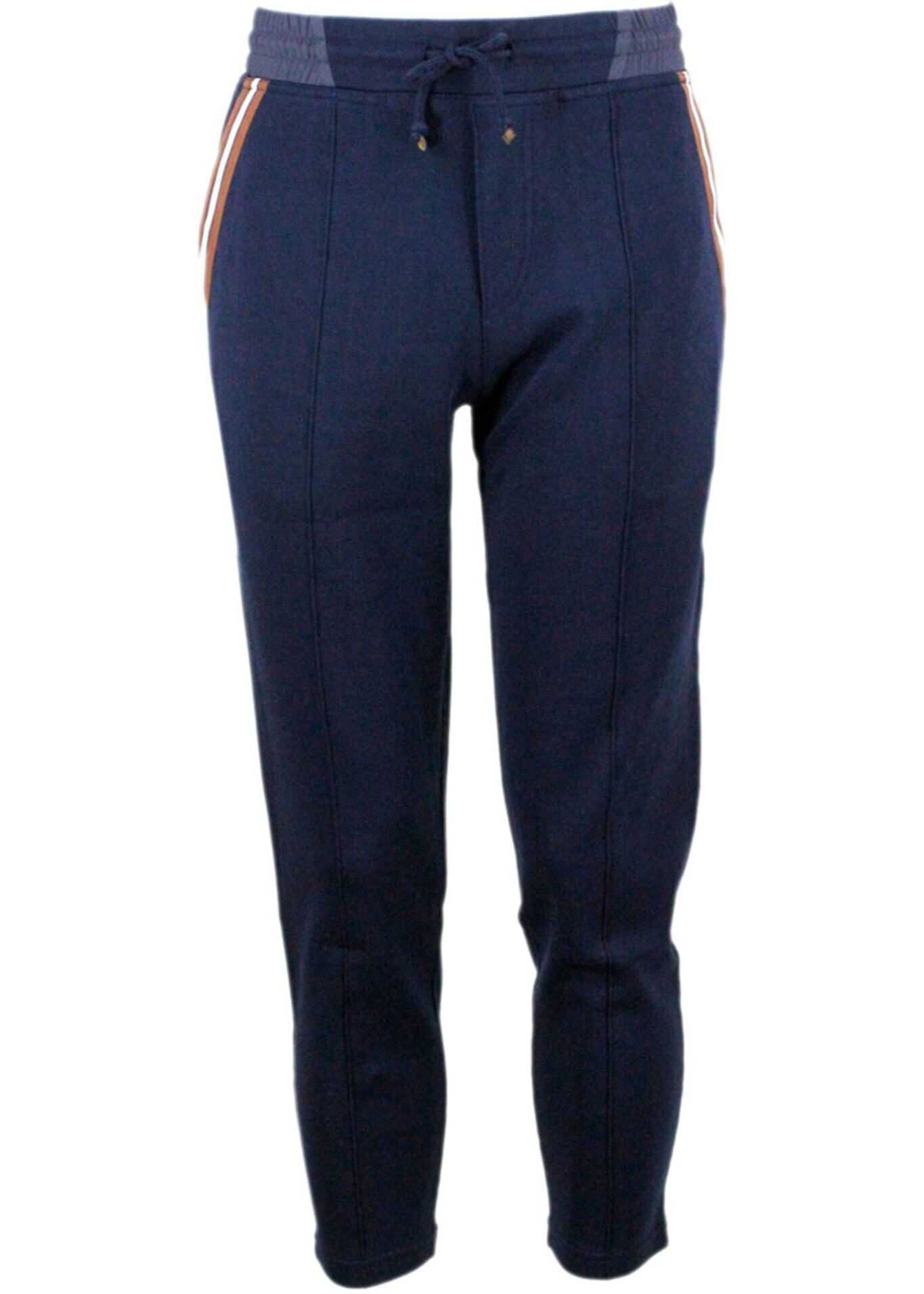Brunello Cucinelli Joggers Striped Insert Pants In Blue Blue imagine