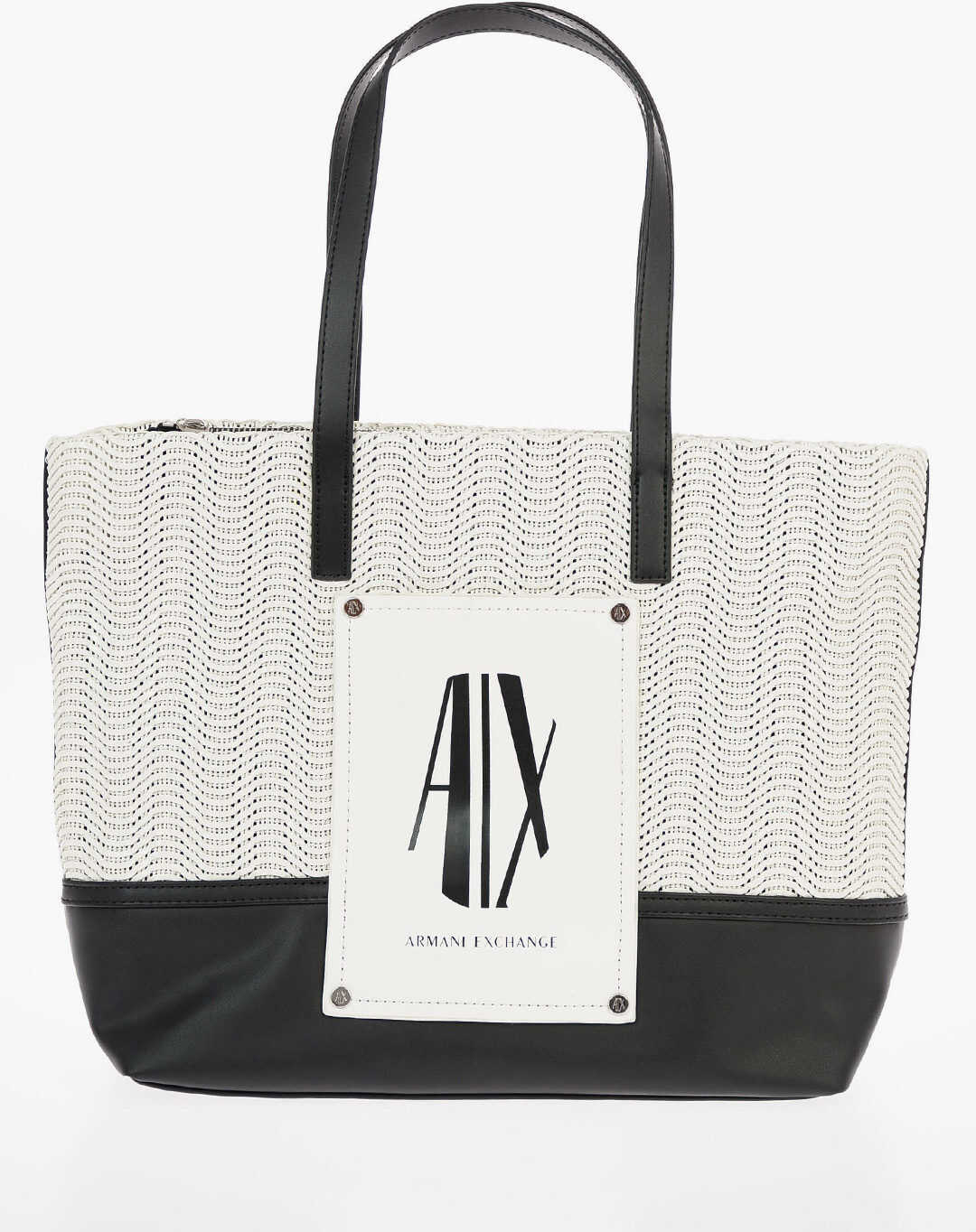 Armani ARMANI EXCHANGE Shopping Bag with Logo BLACK & WHITE imagine b-mall.ro