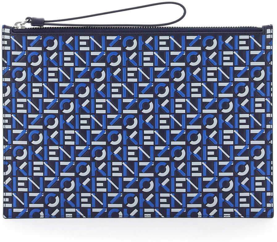 Kenzo Large Pouch Logo FA65PM902L41 MIDNIGHT BLUE imagine b-mall.ro