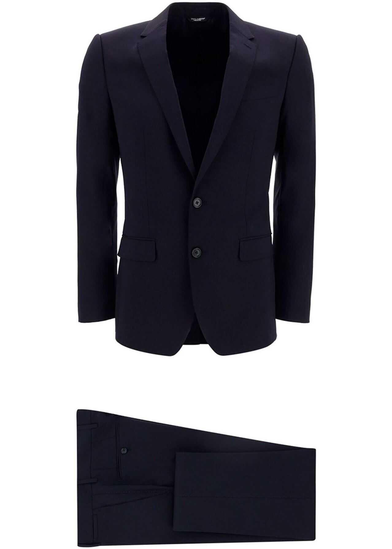 Dolce & Gabbana Fleece Wool Two-Piece Suit In Blue Blue imagine