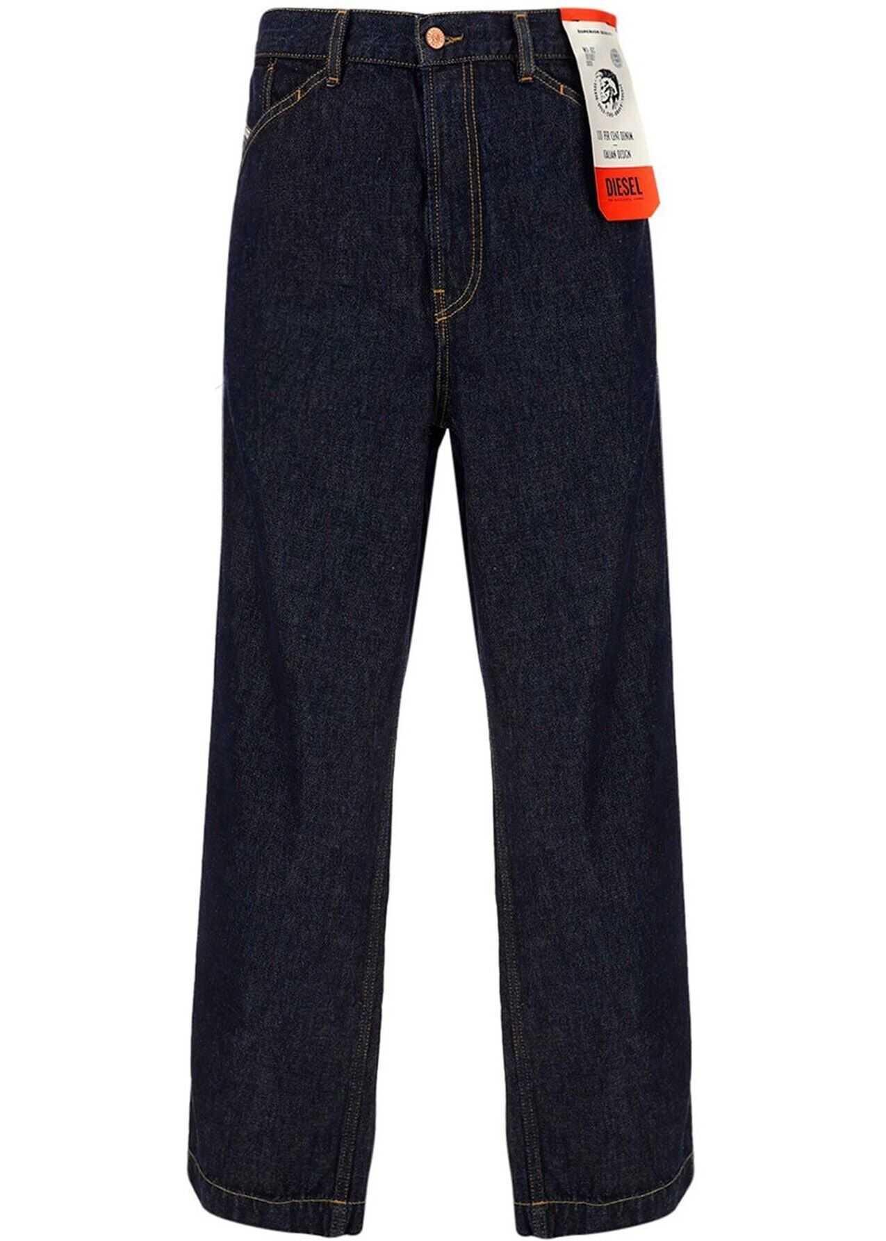 Diesel Wide Cotton Jeans In Blue Blue imagine