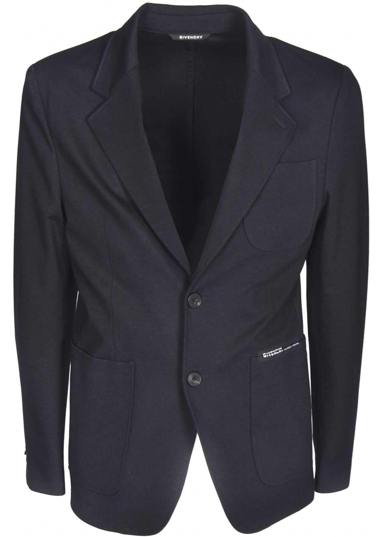 Givenchy Single-Breasted Branded Jacket In Black Black imagine