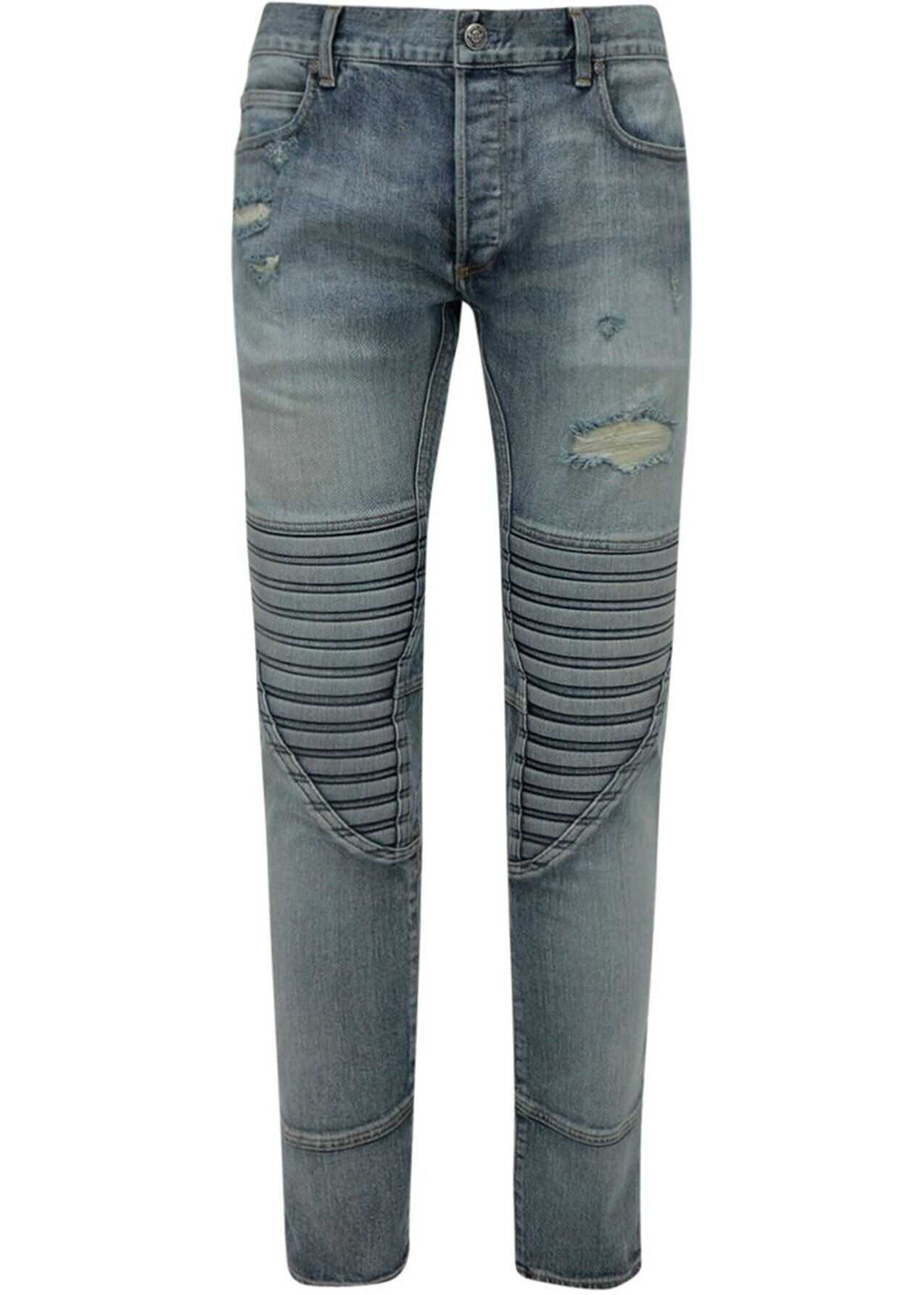 Balmain Distressed Skinny Jeans In Blue Blue imagine