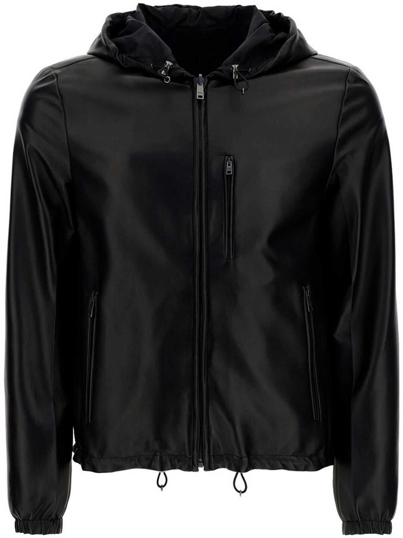 Prada Lambskin Hooded Jacket In Black Black imagine