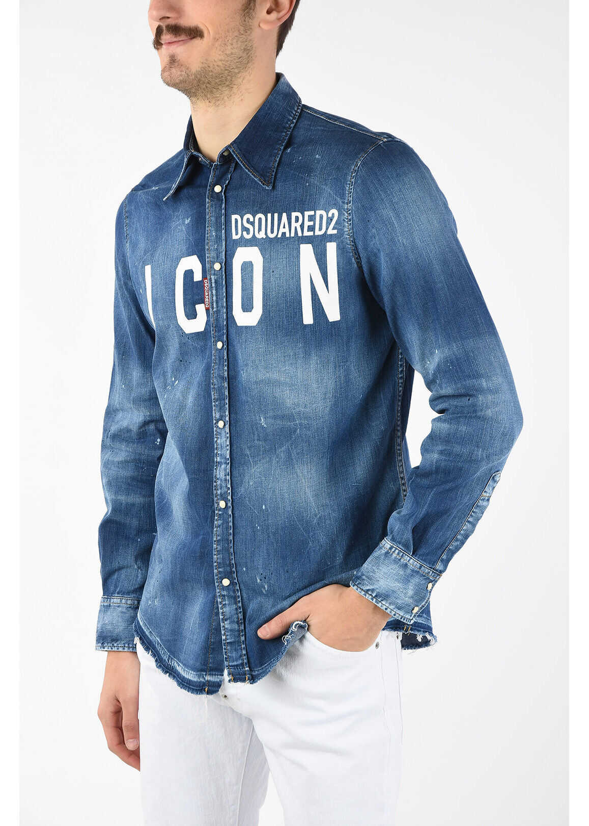 DSQUARED2 ICON Snap Button Stone Washed Denim Shirt BLUE imagine