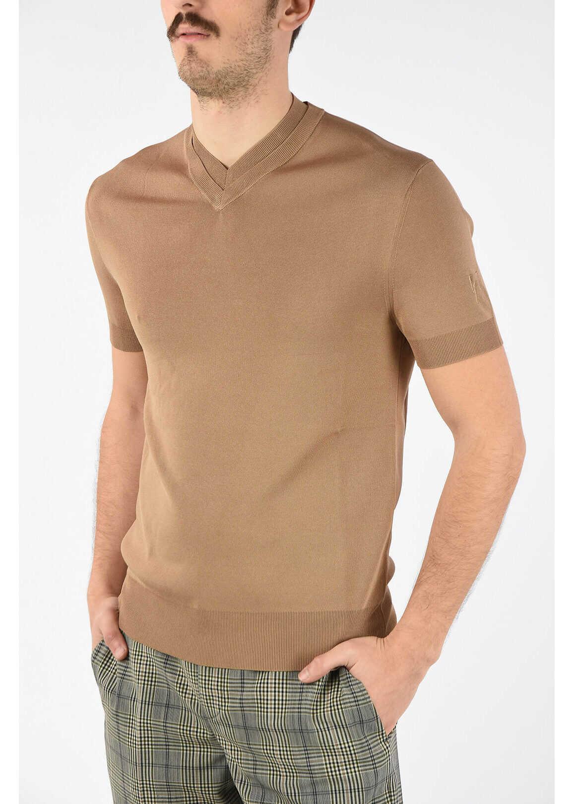 Neil Barrett Short Sleeve V Neck Slim Fit Sweater BEIGE imagine