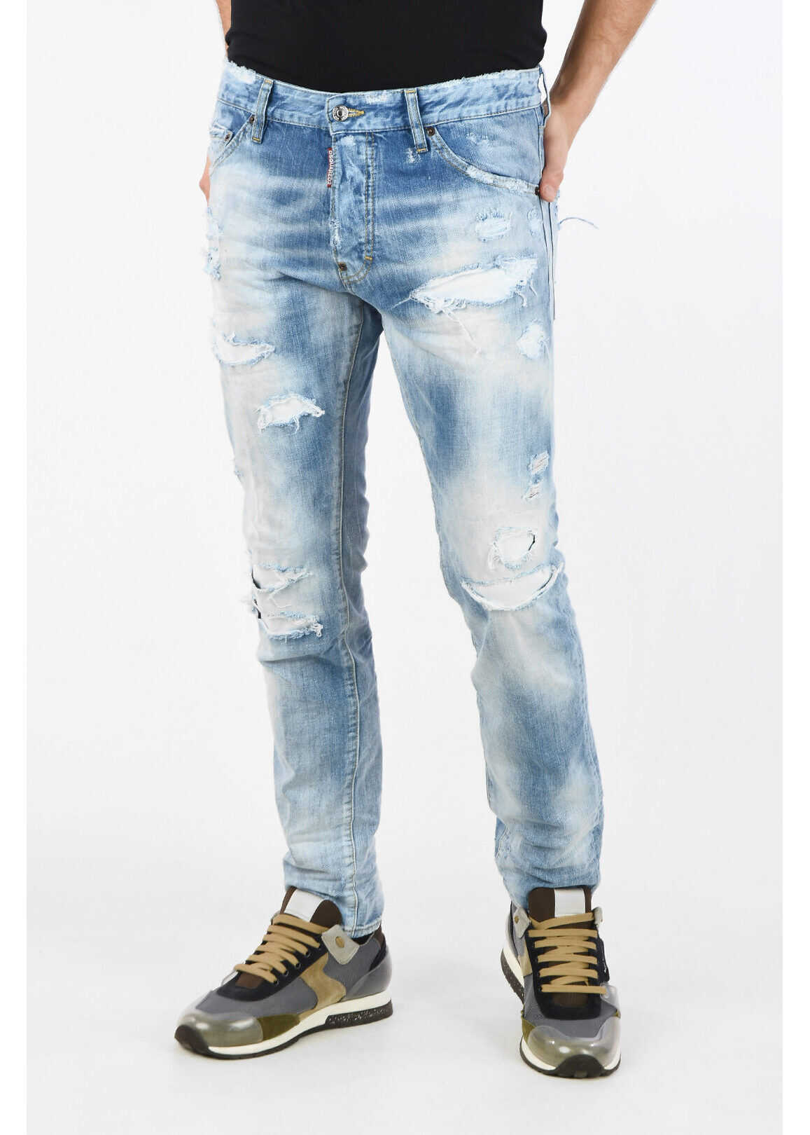 DSQUARED2 17cm Distressed COOL GUY Jeans BLUE imagine