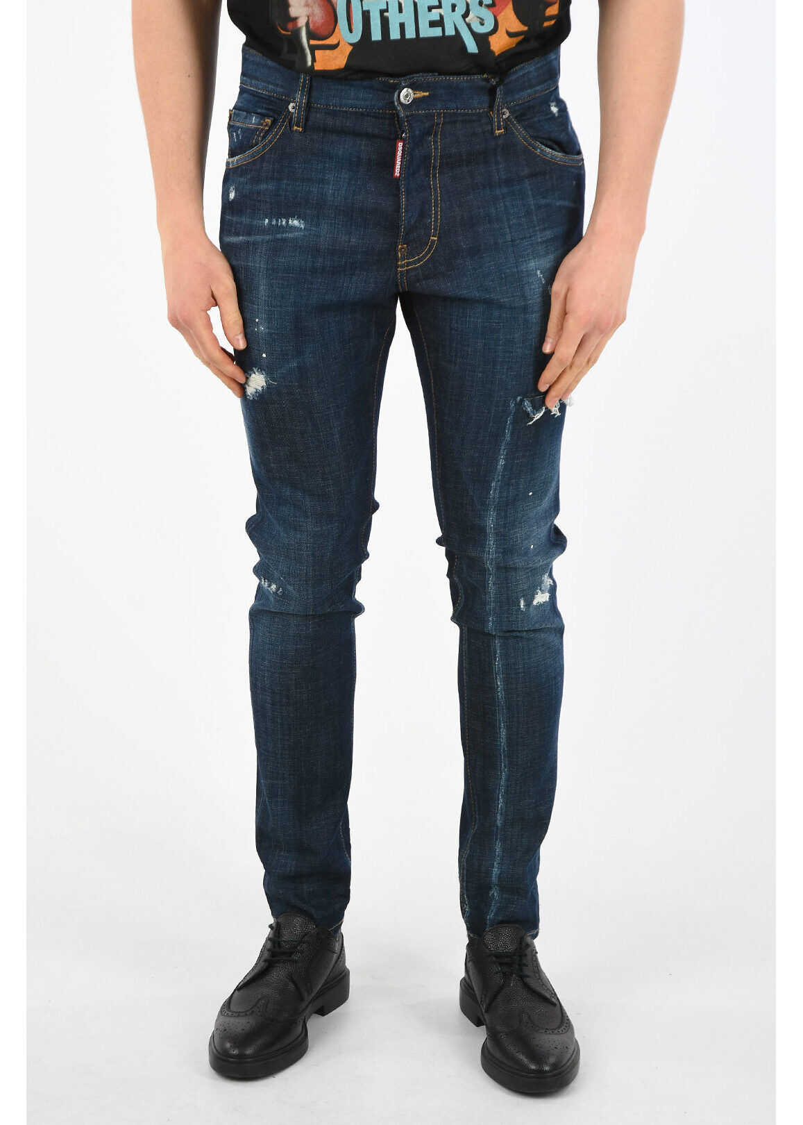 DSQUARED2 16cm Distressed COOL GUY Jeans BLUE imagine