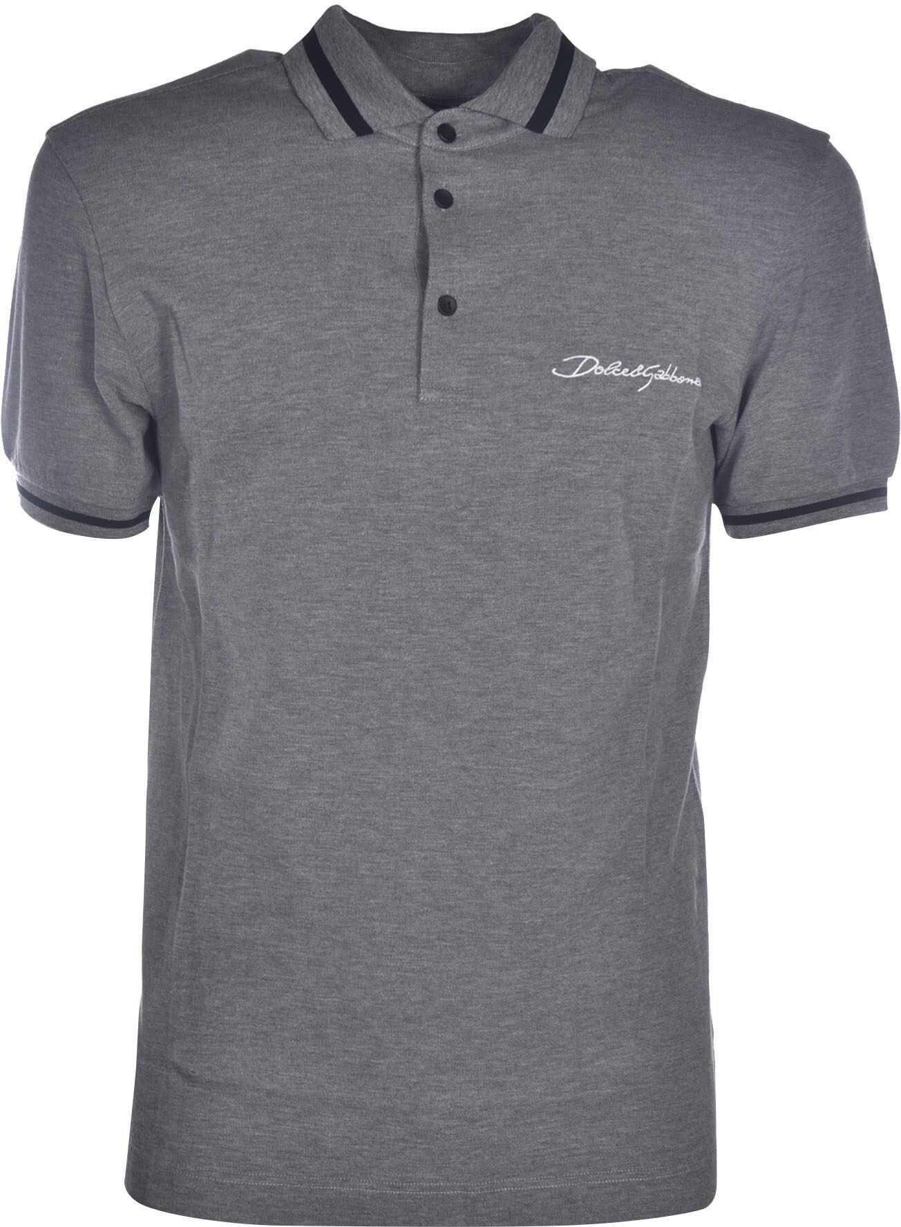 Dolce & Gabbana Embroidered Logo Polo Shirt In Grey Grey imagine