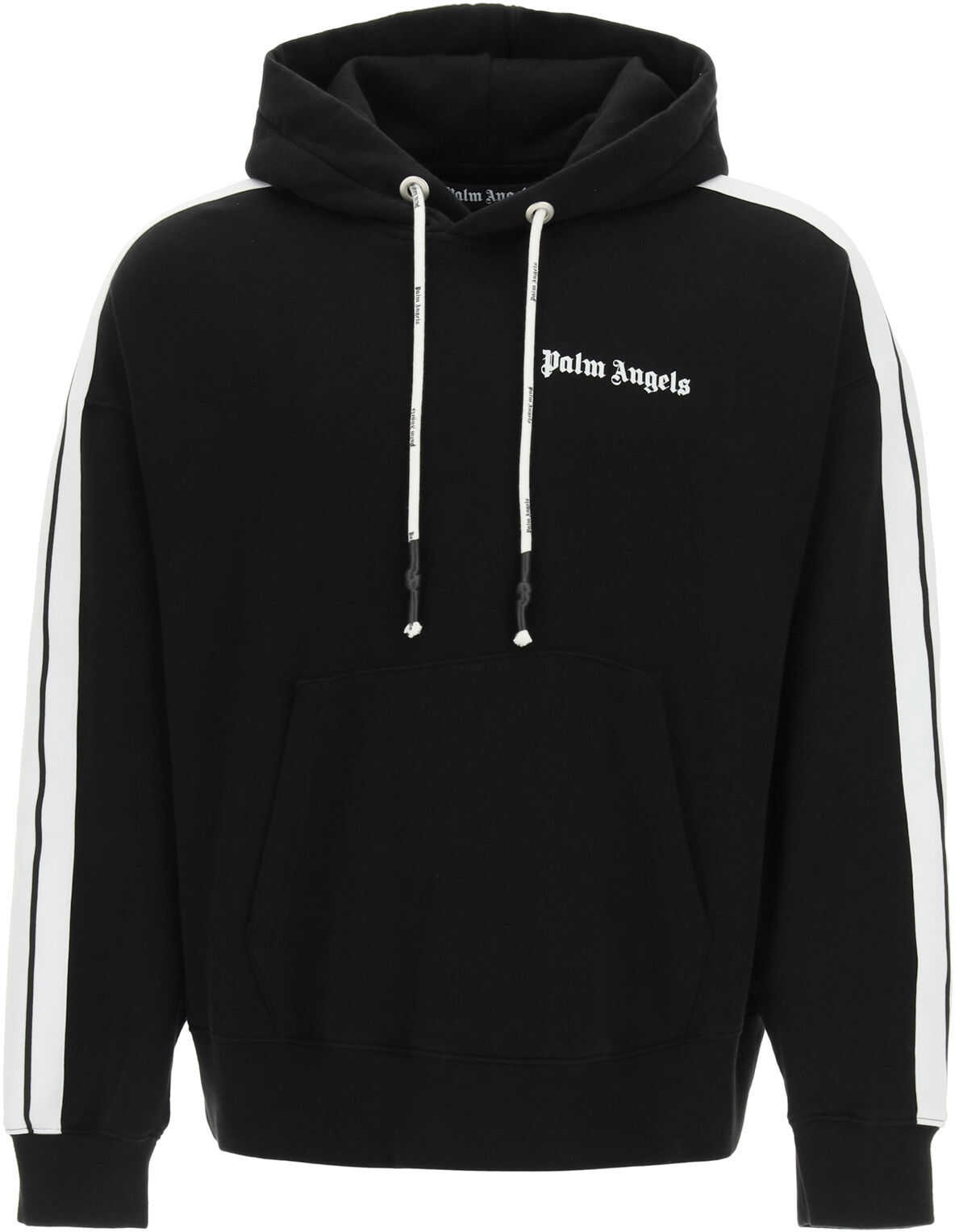 Palm Angels Hooded Sweatshirt With Logo And Bands BLACK WHITE imagine