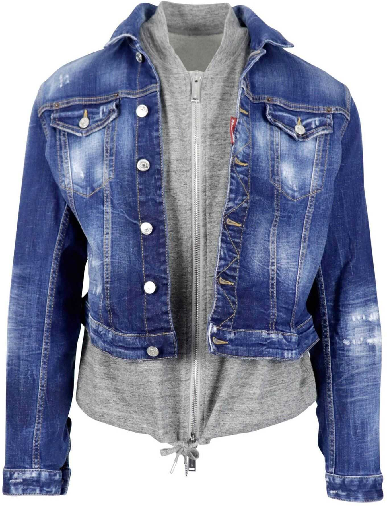 DSQUARED2 Layered Effect Denim Jacket In Blue Blue imagine