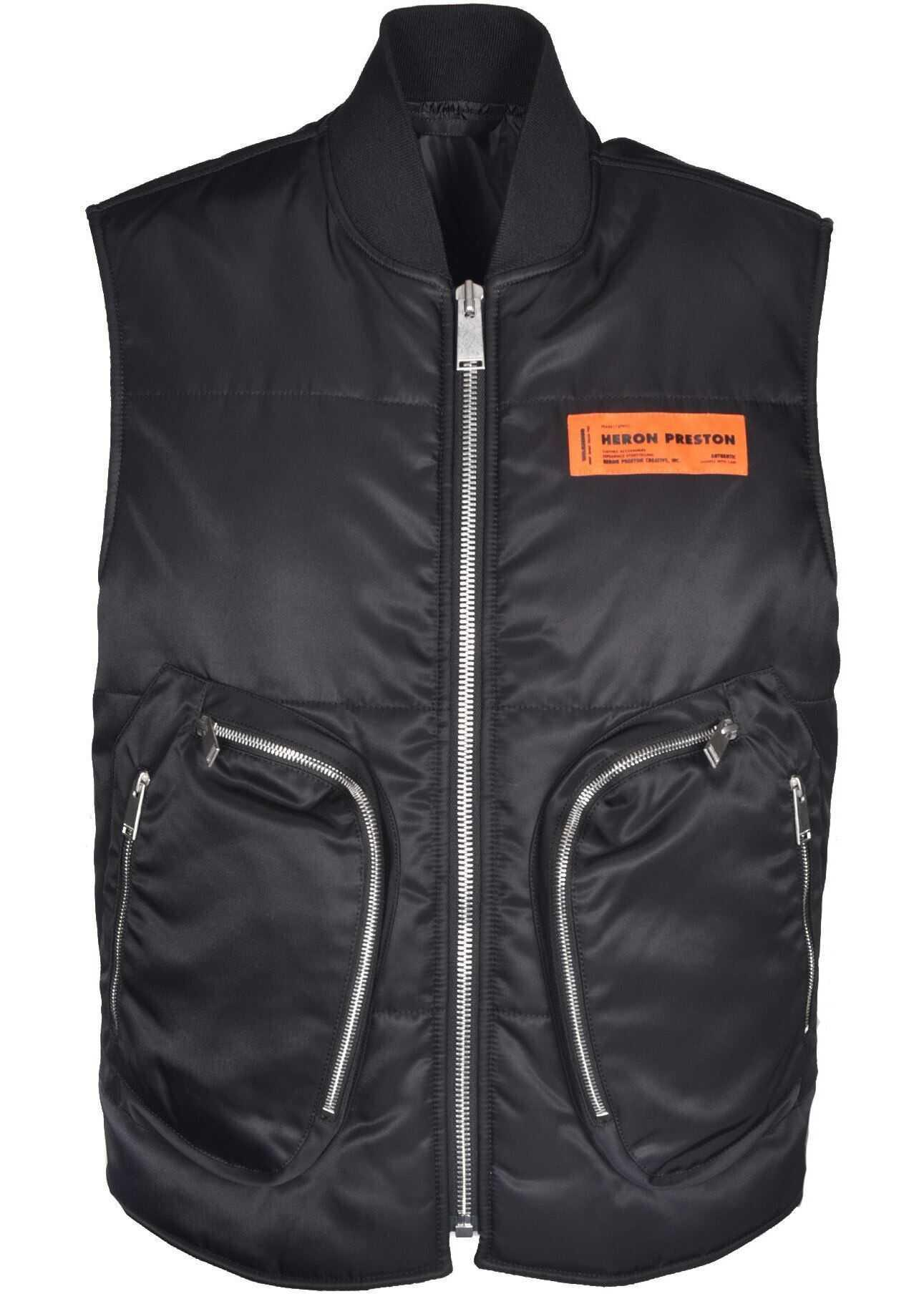 Heron Preston Maxi Zip Pockets Padded Vest In Black Black imagine