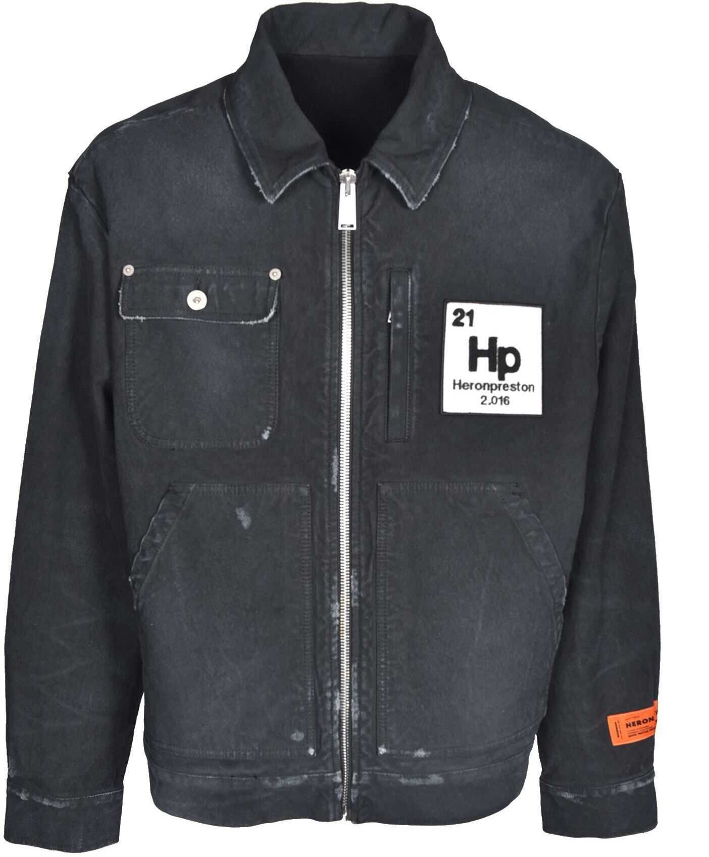 Heron Preston Worker Denim Jacket In Black Black imagine