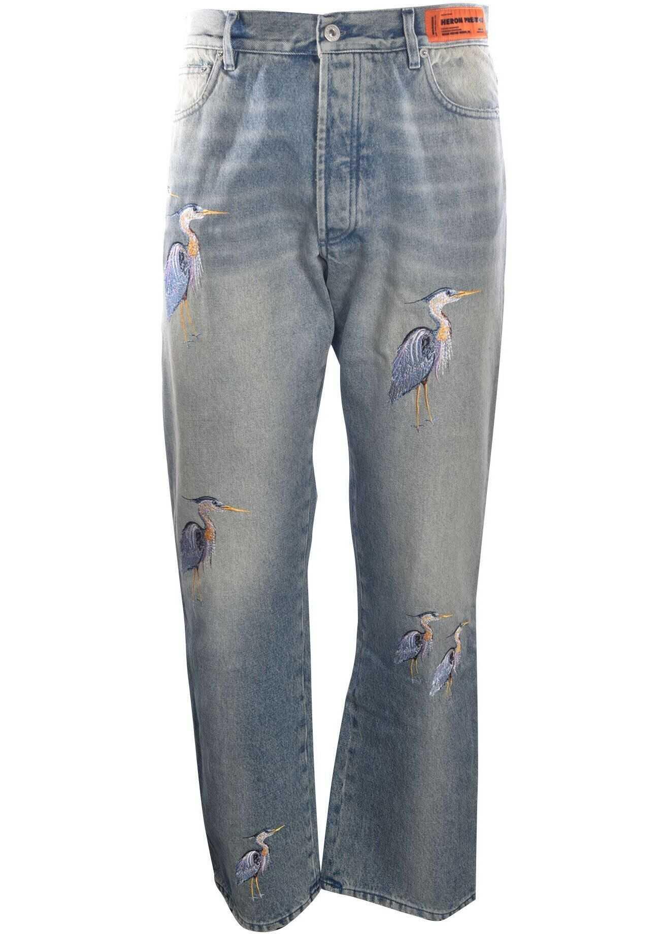 Heron Preston Embroidered Herons Jeans In Light Blue Light Blue imagine