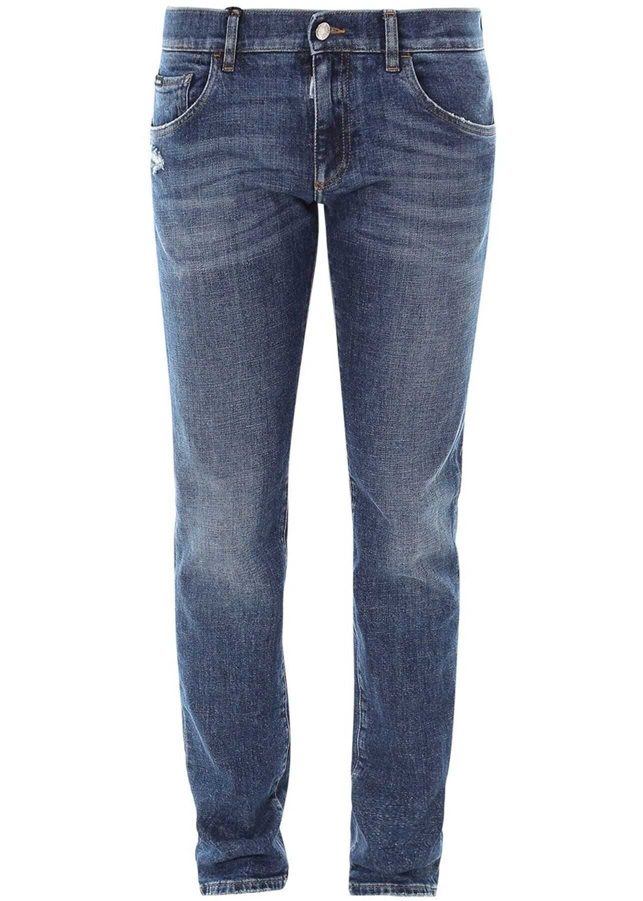 Dolce & Gabbana Faded Denim Jeans In Blue Blue imagine