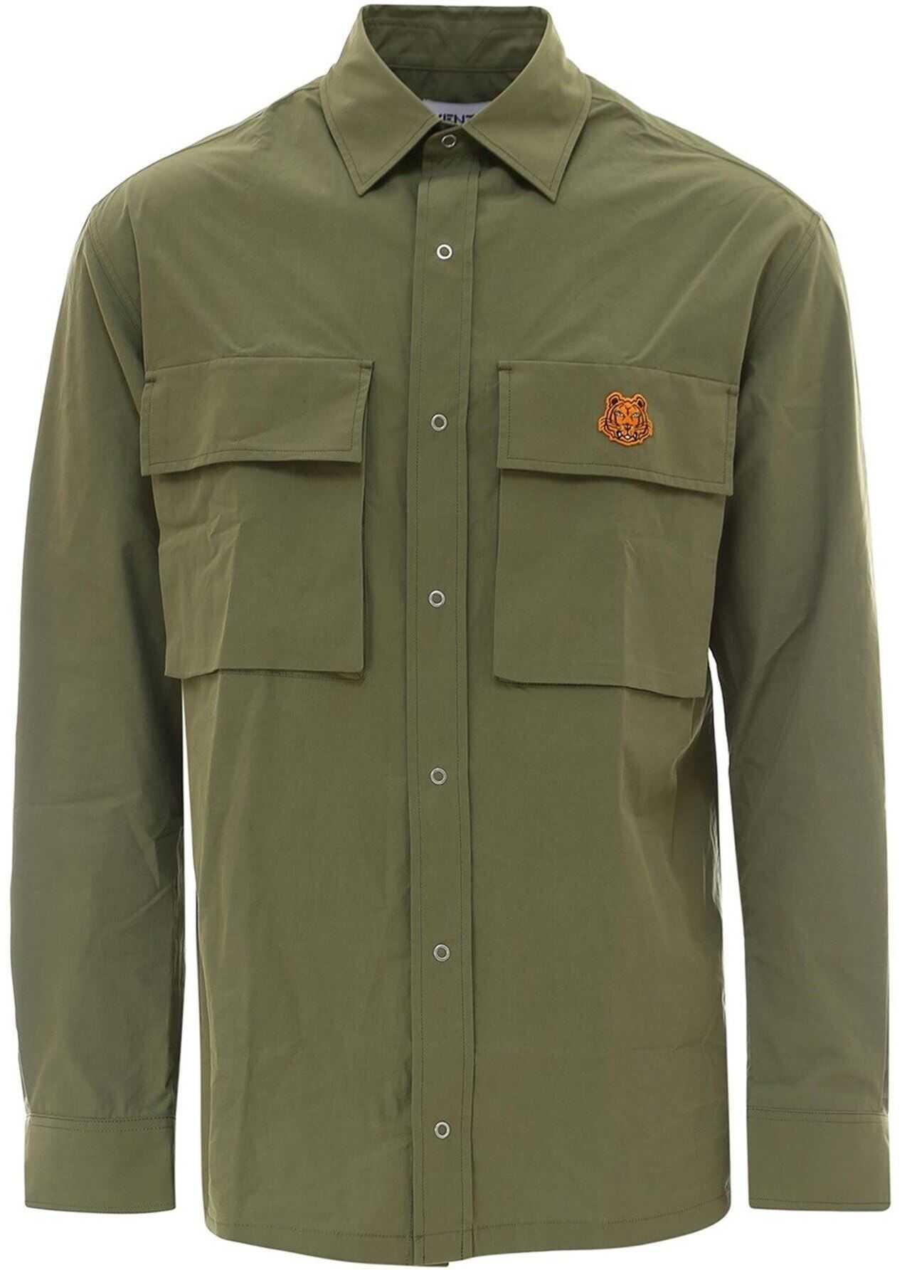 Kenzo Tiger Shirt In Green Green imagine