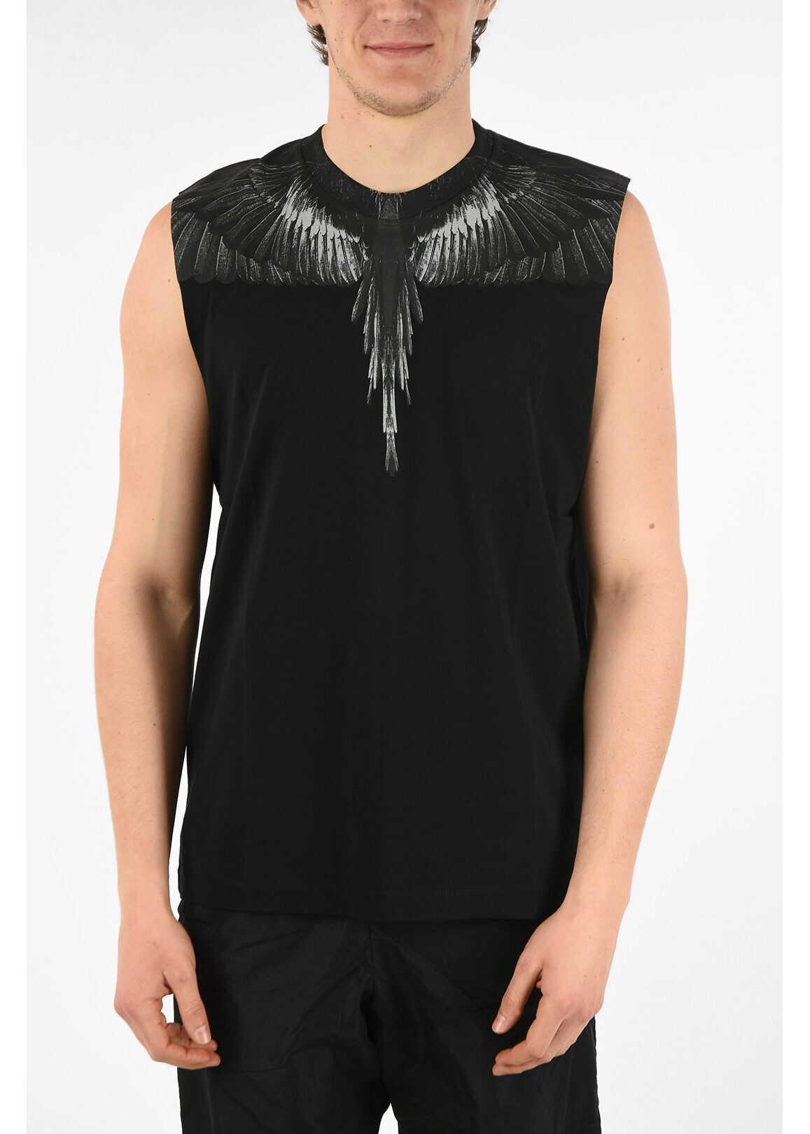 Marcelo Burlon Cotton Sleeveless BLACK WINGS T-Shirt with Print BLACK imagine