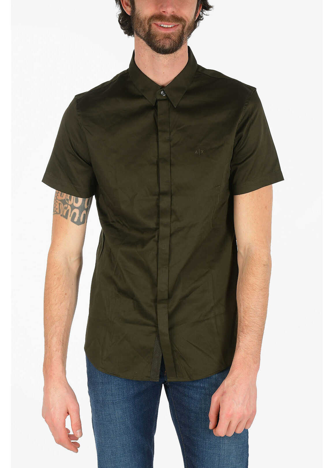 Armani ARMANI EXCHANGE Hidden Closure Short Sleeve Shirt GREEN imagine