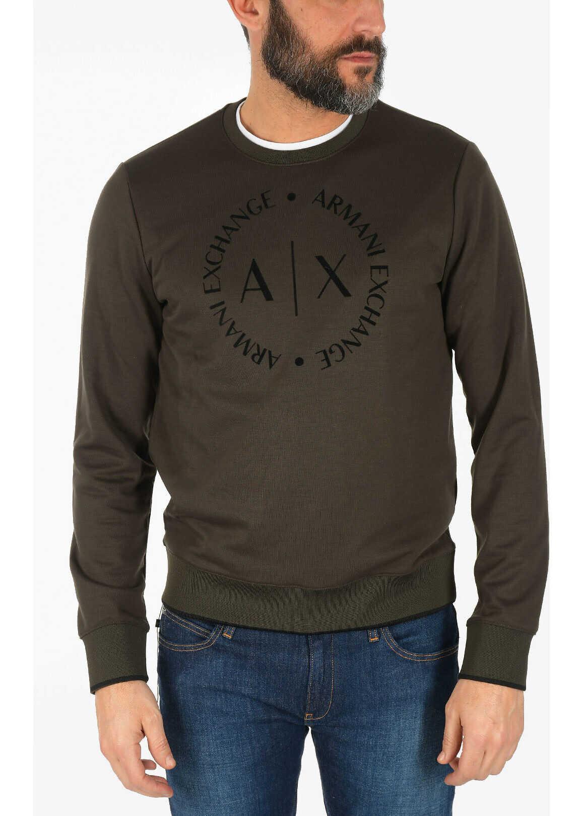 Armani ARMANI EXCHANGE Velvet Logo Sweatshirt GREEN imagine