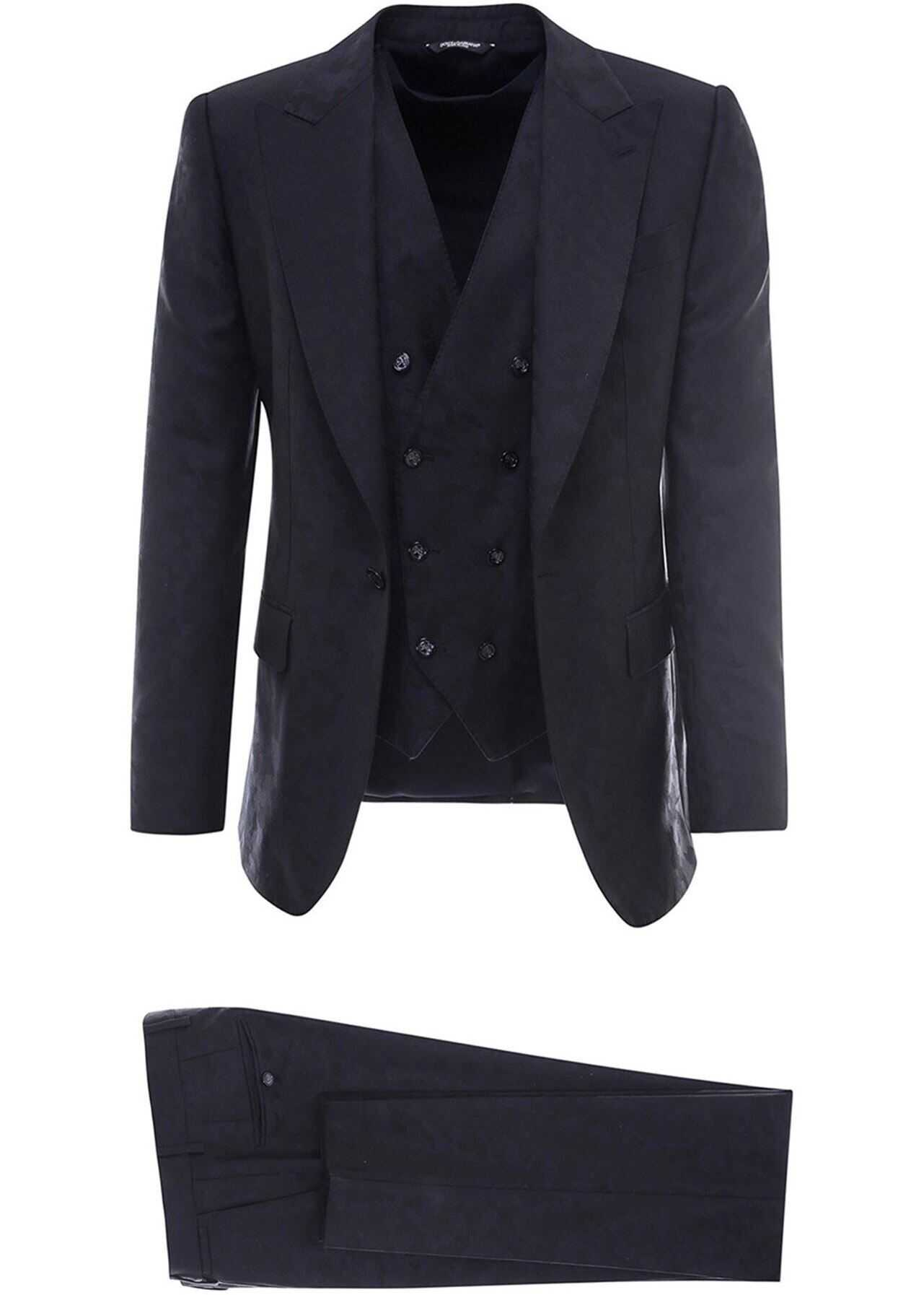 Dolce & Gabbana Camouflage Wool Suit In Blue Blue imagine