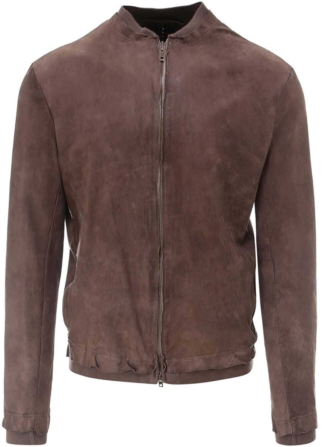Salvatore Santoro Vintage Effect Napa Bomber Jacket In Brown Brown imagine