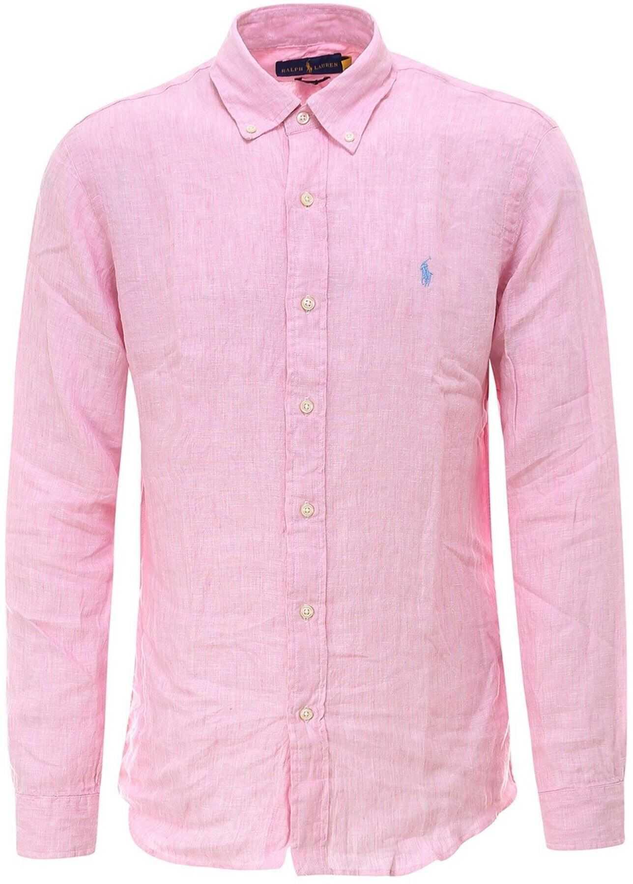 Ralph Lauren Linen Shirt In Pink Pink imagine