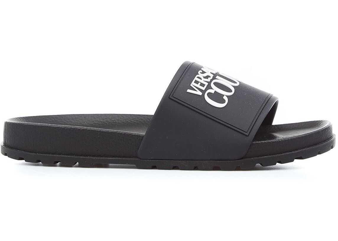 Versace Slides with logo Black imagine b-mall.ro