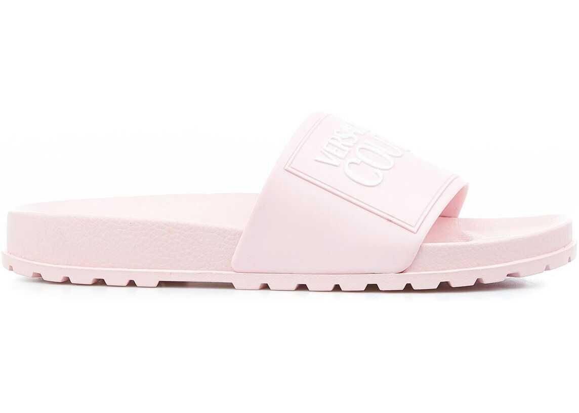 Versace Slides with logo Pink imagine b-mall.ro