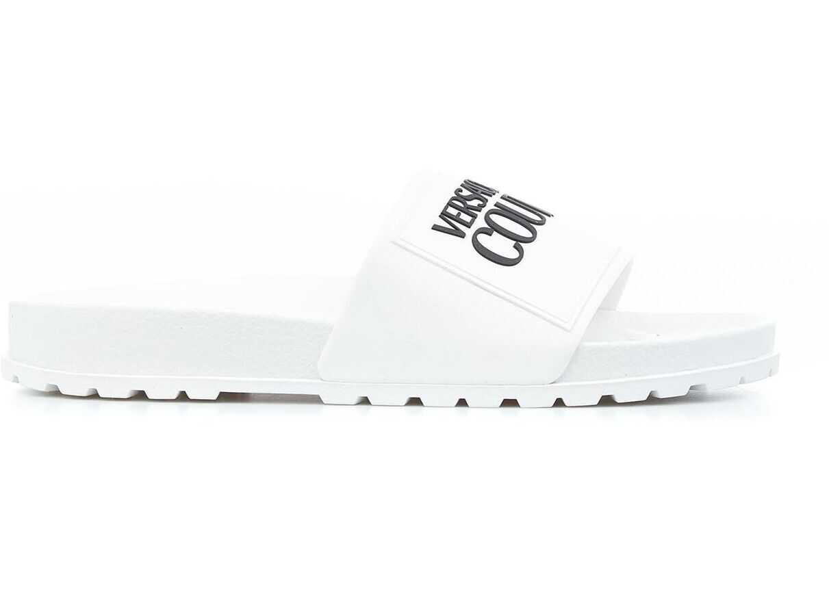 Versace Slides with logo White imagine b-mall.ro