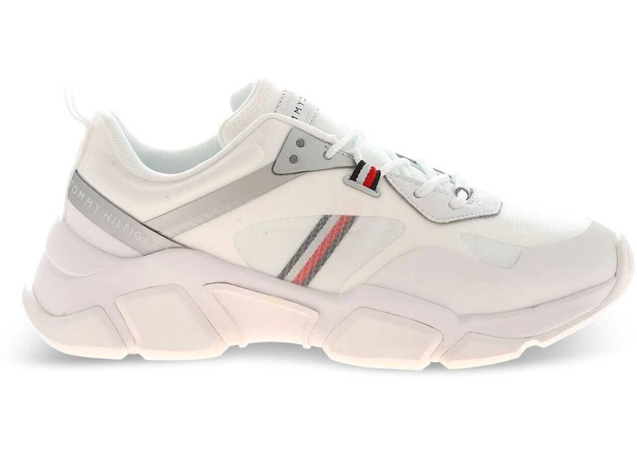 Tommy Hilfiger Logo Sneakers In White And Silver Color* White