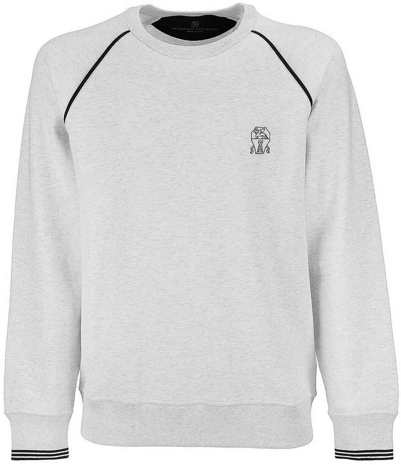 Brunello Cucinelli Cotton Sweatshirt In Melange Grey Grey imagine