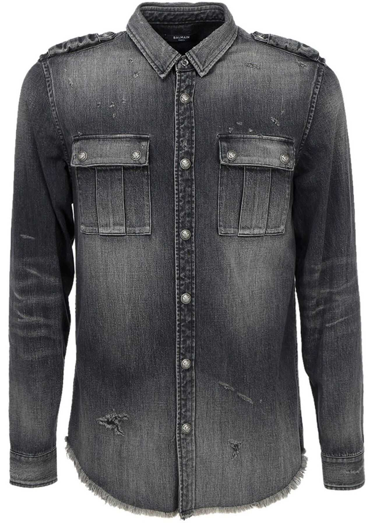 Balmain Denim Shirt In Grey Grey imagine