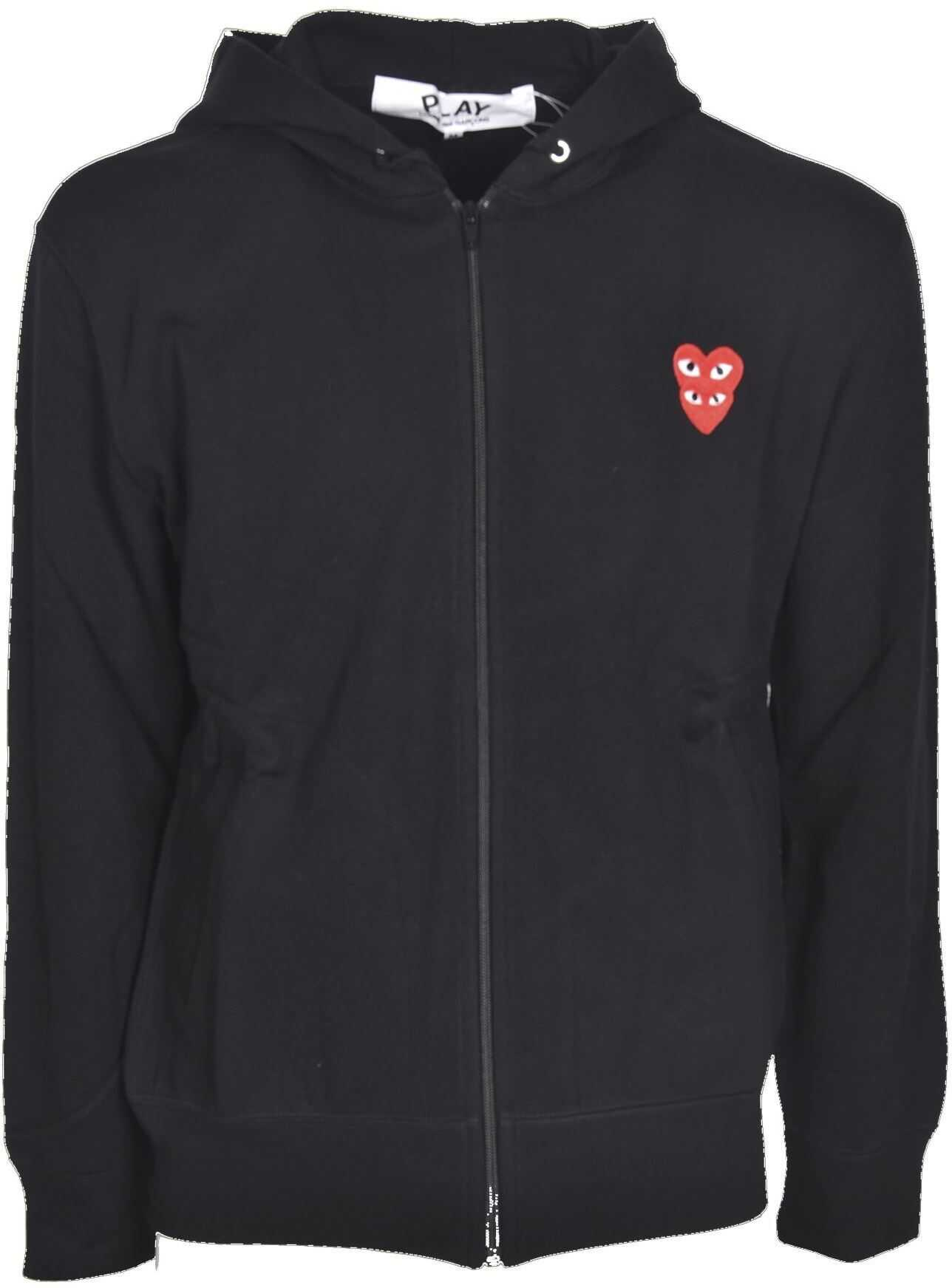 Comme des Garçons Double Red Heart Sweatshirt In Black Black imagine