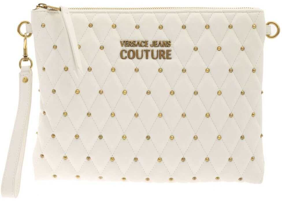 Versace Jeans Couture Studs Quilted Clutch Bag In White E1VWABQY71881003 White imagine b-mall.ro