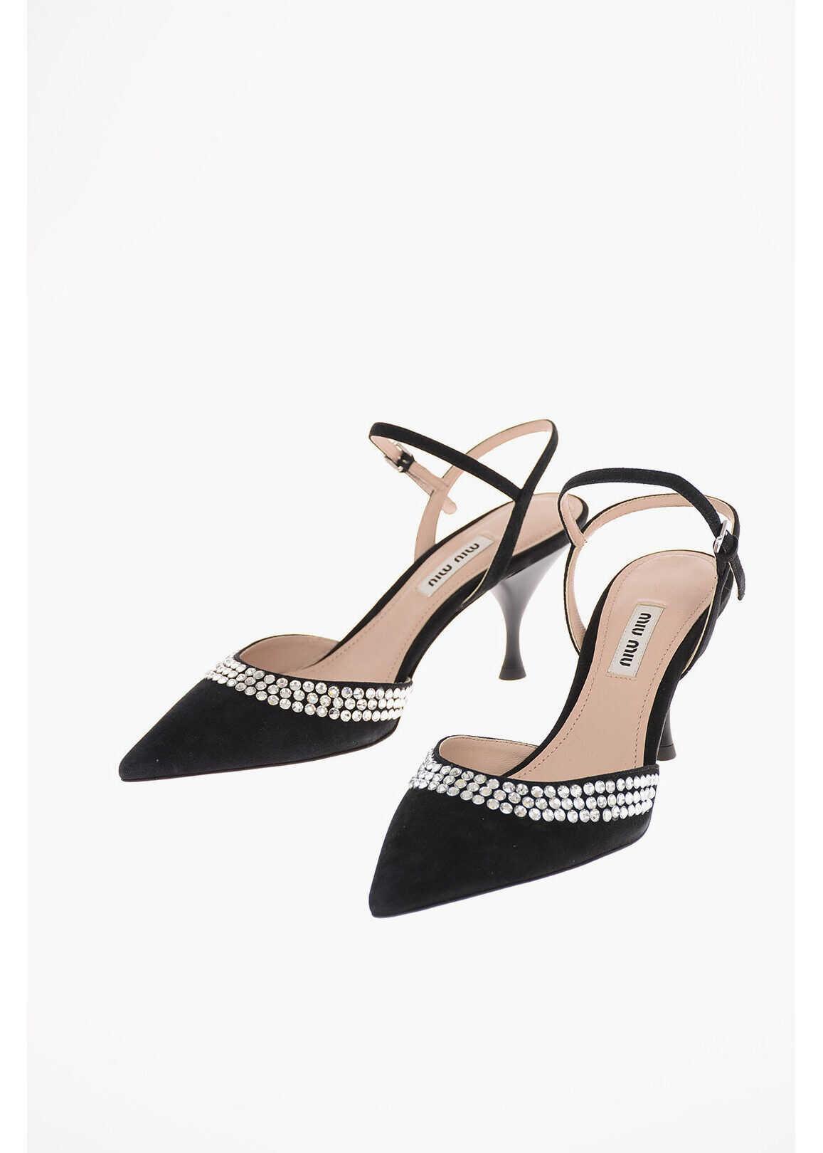 Miu Miu Suede Ankle Strap Pumps with Jewel Applications 8 cm BLACK imagine b-mall.ro