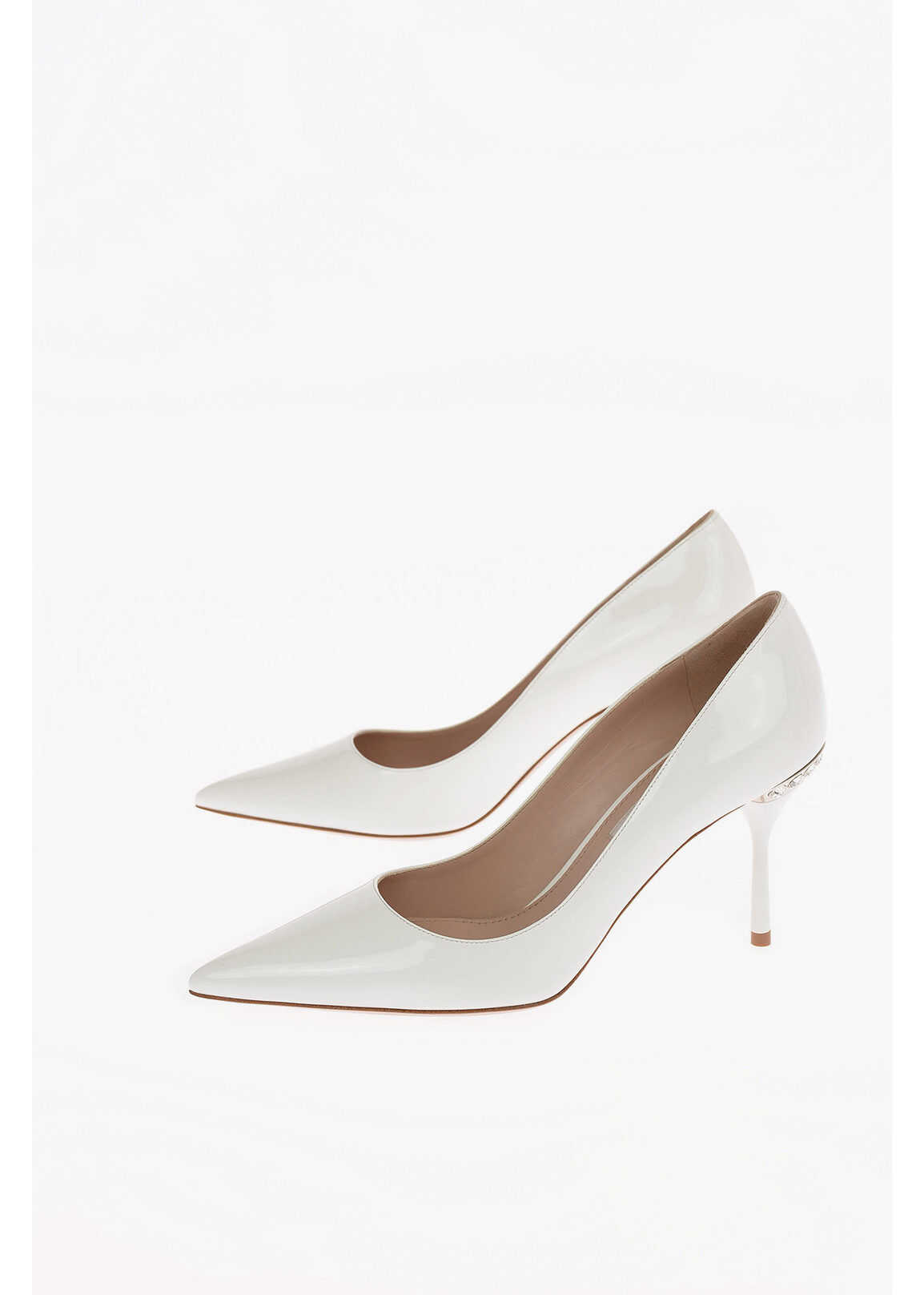 Miu Miu Lacquered Leather Pumps with Jewel Detail 9cm WHITE imagine b-mall.ro