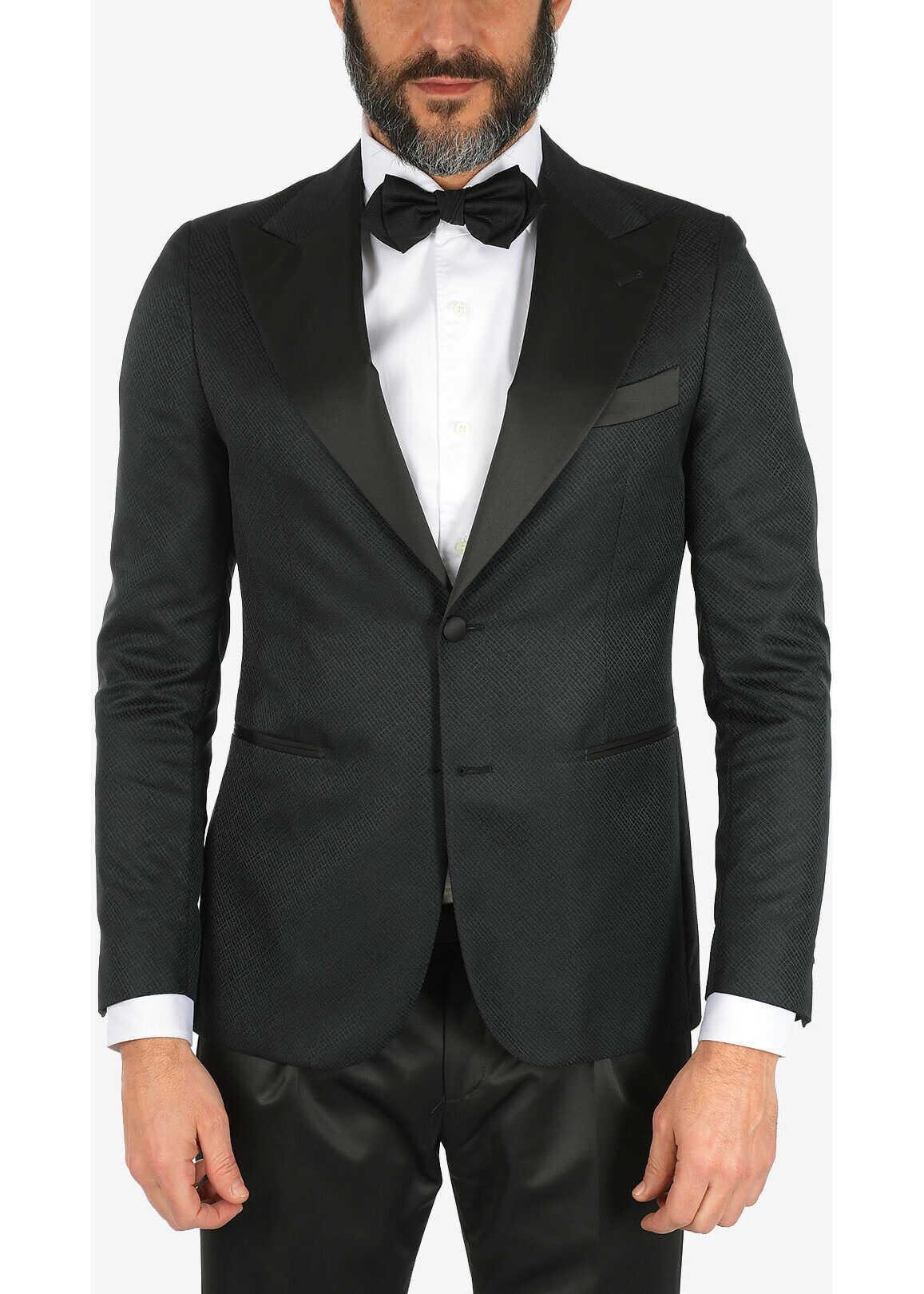 CORNELIANI CC COLLECTION mini check CERIMONIA REWARD blazer BLACK imagine