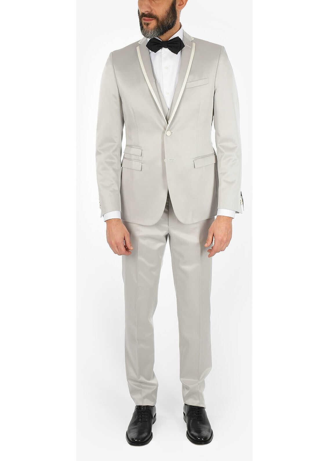 CORNELIANI CC COLLECTION CERIMONIA REFINED drop 8R 3 piece waistcoat su GRAY imagine