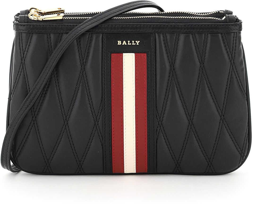 Bally Drice Stripe Quilted Mini Bag 6236124 BLACK imagine b-mall.ro