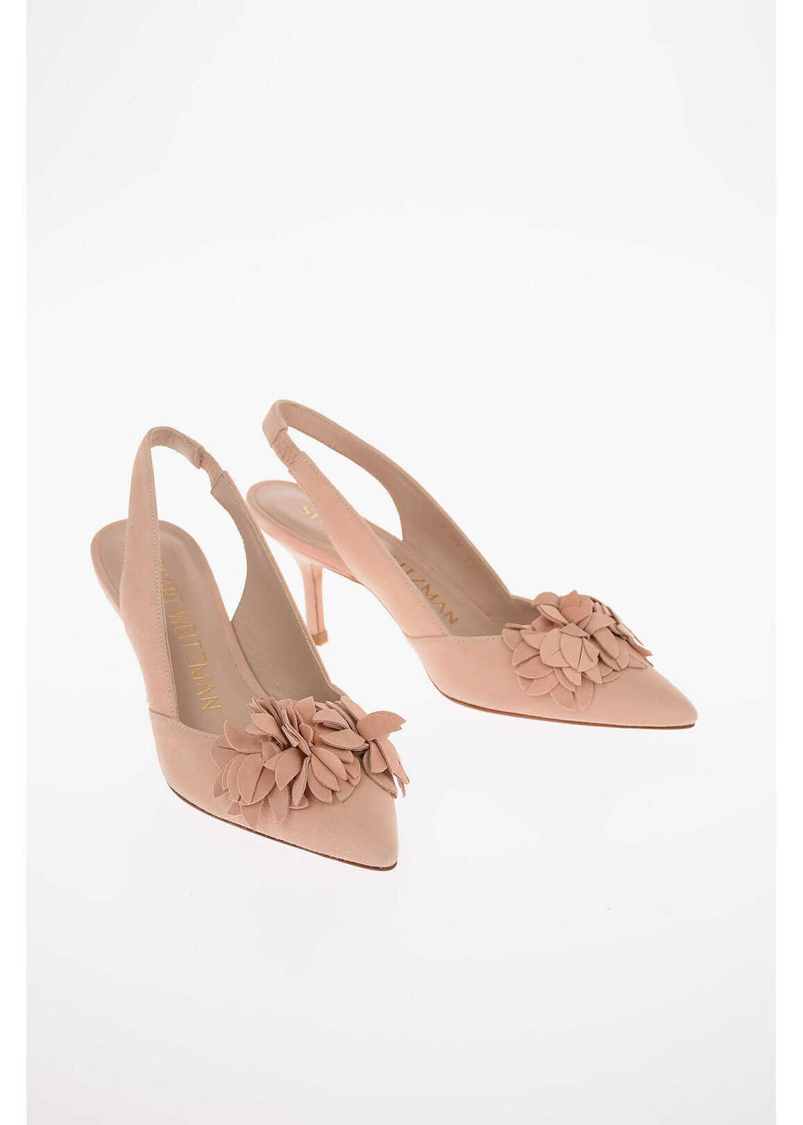 Stuart Weitzman Suede ROSELLA 75 Slingbacks with Floral Application 8 Cm PINK imagine b-mall.ro